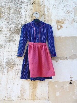 1970/70s Authentic Girl Dirndl Tyrol Austria German Floral Dress & apron 6 years