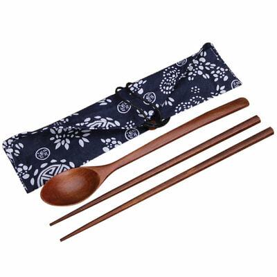 AU_Portable Wooden Cutlery Sets Wooden Chopsticks And Spoons Travel J7