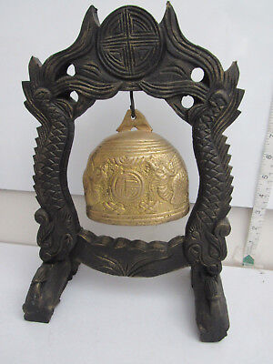 Vintage Oriental Brass Gong On Carved Wooden Stand