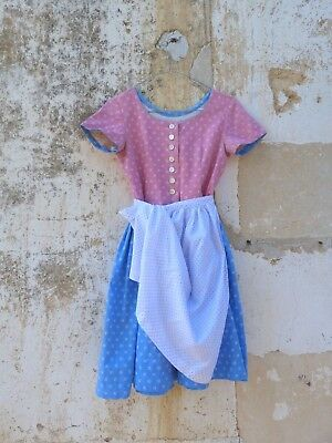 1970/70s Authentic Girl Dirndl Tyrol Austria German Floral Dress & apron 8 years