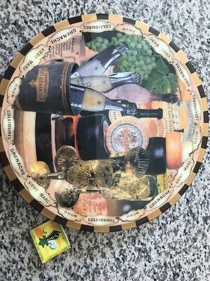 """ANNIE MODICA Moet Wine Cheese Decoupage Lazy Susan Art Collectible 18"""" Spins"""