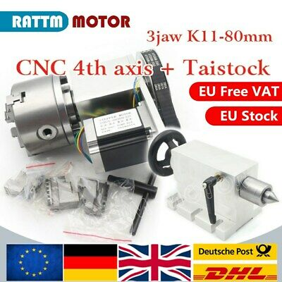【EU】The 4th Axis K11-80mm 3 jaw CNC Router dividing head/Rotation Axis+Tailstock