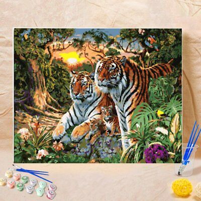 Frameless Oil Painting Canvas Painting Tiger Parents Tiger Babies In The WoodsZ6