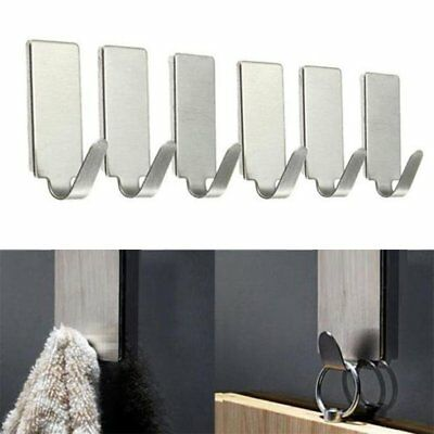 6PCS Self Adhesive Home Kitchen Wall Door Stainless Steel Holder Hook H2