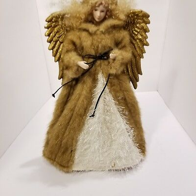"""16"""" Whimsical  Woodland Forest Angel Christmas Tree Topper GOLD"""