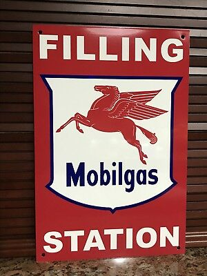 Mobilgas Filling Station rare Mobil Gas pegasus oil gasoline advertising sign