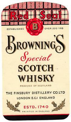 Original Early Whiskey Label - Browning's Red Seal Special Scotch Whisky