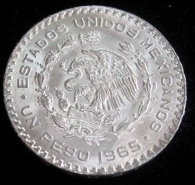 1965 Mexico Un Pesos KM#459 - Silver Coin *Lowest Morales Mint Year*