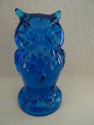 COLONIAL Blue MOSSER Art GLASS OWL Figurine Solid Paperweight
