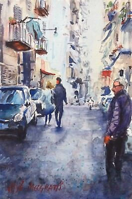 "Original  Watercolor Painting Naples, Italy  Art  6"" x 9"" NOT A PRINT"