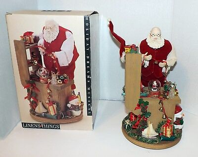 Unique Vintage Wooden Hand Made Hand Painted Musical Santa Christmas Figurine
