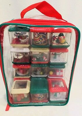 Fisher Price Christmas Peek A Boo Activity Blocks Set Of 12 With Storage Bag