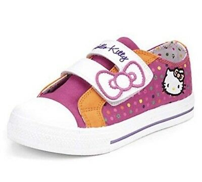 M&S Girls Hello Kitty Grip Sole Uk Child 12 Riptape Trainers Shoes BNWT