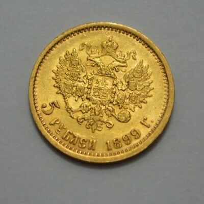 1899 Russia 5 Ruble Gold Old Coin Imperial Nicholas Ii
