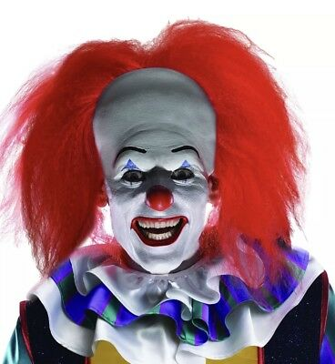 Pennywise RED Clown Wig Costume Synthetic Hair Bald Cap Halloween Fancy Dress