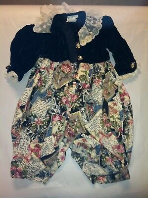 Baby girls vintage 16 mo victorian style one piece, velvet and lace - C121