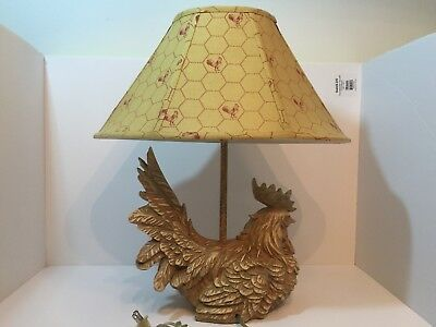 Vintage Chicken Hen Rooster Lamp Americana Folk Art Rustic Farm Country Décor