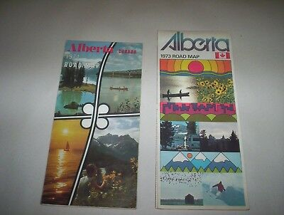 Lot of 2 Vintage Alberta Canada 1971 & 1973 Official Highway Road Maps