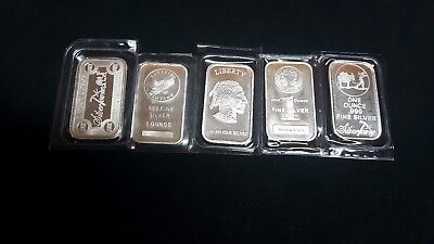 5-1 ounce silver bullion bars fine silver different logos .Great Holiday gift .
