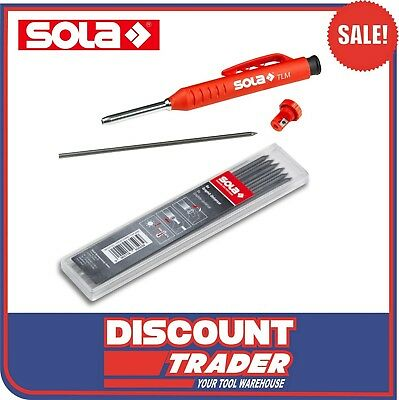 SOLA Deep Hole Marker + Pack of 6 Graphite Leads - Tradesman Clutch Pencil - TLM