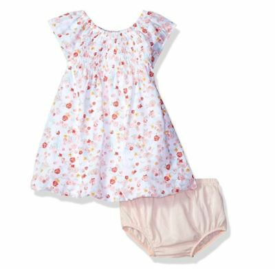 NWT Burt's Bees Baby Organic Smocked Bubble Dress and Diaper Cover Set  0-3 Mos.