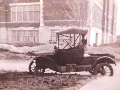 Pair of original 1910's photographs showing wreckage of old FORD MODEL T Car