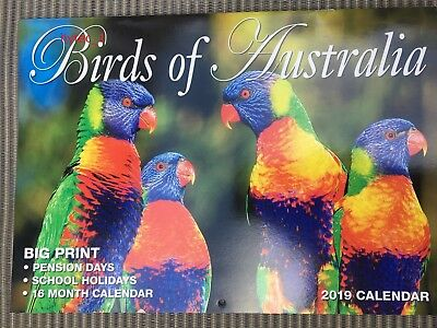 BIRDS OF AUSTRALIA - 2019 CALENDAR  - AUSTRALIAN & NEW ZEALAND DATES - Free Post