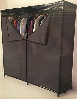 NEW Extra Hanging Space Wide Double Wardrobe Easy To Assemble With Metal Tubing