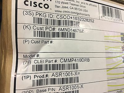 New CISCO ASR1001-X Chassis, AIS Loaded ASR 1001-X System, Crypto, 6 x GE AC's