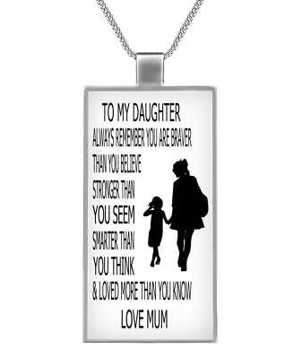 To my daughter remember you are braver than you know love mum rectangle necklace