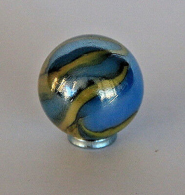 Vintage Toy Marble blue with yelow swirl ? Peltier, Akro Agate, Christens