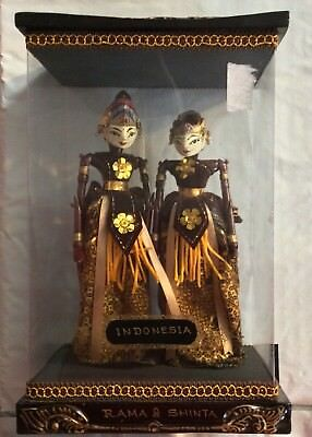 Vintage King Rama and Queen Shinta Puppet Dolls in Case with Indonesia Price Tag
