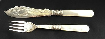 Knife & Fork Set Hand Engraved Fish & Mother of Perl Handles 1900's Vintage