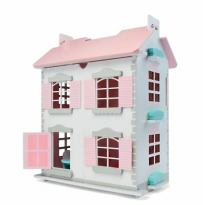 New Wooden Cottage Dollhouse Miniature Dolls with 5 dolls &10 pcs Furnitures