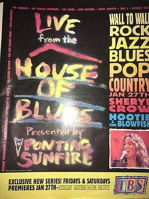 '95 House Of Blues Sheryl Crow Hootie & Blowfish LIVE TBS SERIES AD Poster Pinup