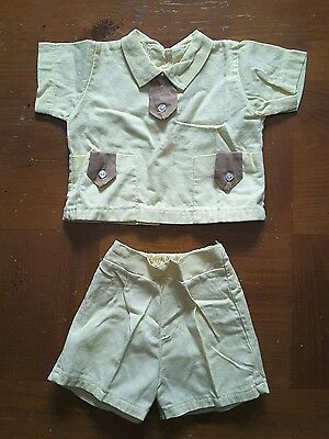 Shirt Shorts 2 pc Outfit Yellow Brown Toddler Boys Vintage