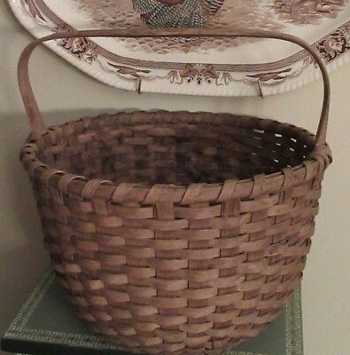 19thC Antique Country Primitive Large Gathering Basket - Hand-Carved Handle