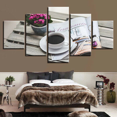 Coffee Magazine Cover Flower Vase Table 5 Panel Canvas Print Wall Art Home Decor