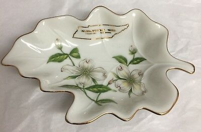 World's Fair 1982 Gold Trim Souvenir Leaf fine china dish Bowl Lefton Japan