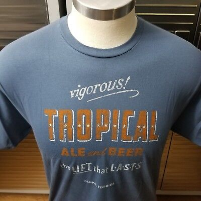 Tropical Ale   Beer Mens XL Vintage Retro Logo Brewery T-shirt Tee Tampa  Florida 0e62f7d15
