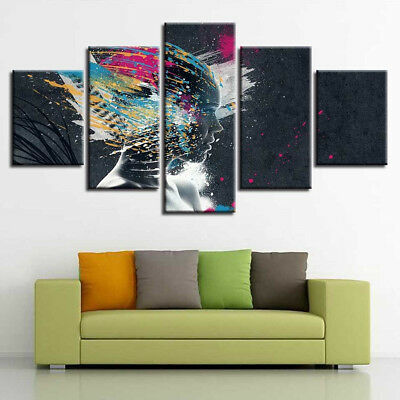 Graffiti Woman Face Street Painting 5 Panel Canvas Print Wall Art Home Decor