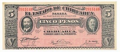 Mexico Chihuanhua 5 Pesos 1915 S. 532 gEF/AU Note