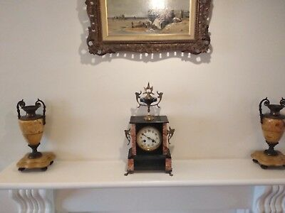 Antique French Black Slate and Rouge Marble 15 day Mantle Clock – Fully Working