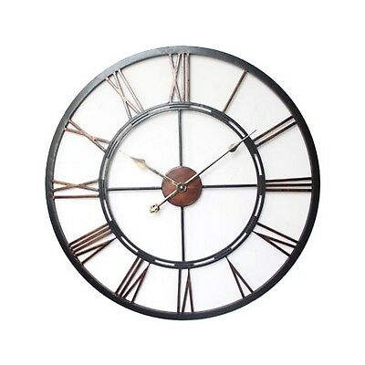 Classic Large Black Metal Roman Numeral Wall Clock Home Decor Gift