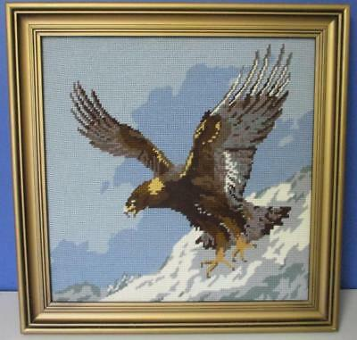 Vintage Framed Wool Needlepoint TAPESTRY Soaring Eagle Mountain Top Complete Exc