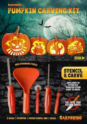 2018 Pumpkin Carving Kit with 10 stencils and 5 designs (new stronger tools)
