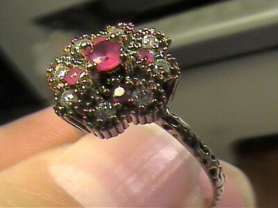 medieval RING 8 deep ruby SAPPHIRE FILIGREE silver OLD sterling 925 vintage smal