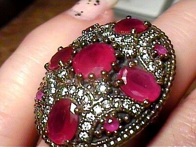 VINTAGE ANTIQUE RUBY SILVER RING 9 MEDIEVAL NATURAL SAPPHIRE STERLING 925 big