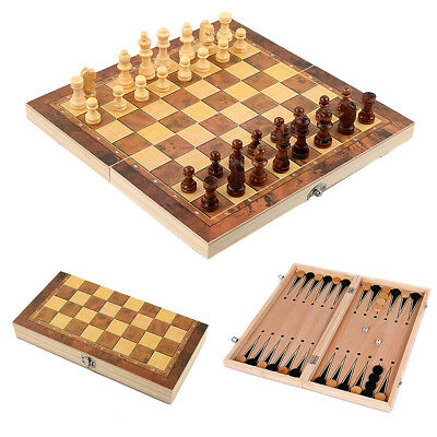 3in1 Foldable Wood Chess Wooden Board Hand Crafted Folding Chessboard Game Set