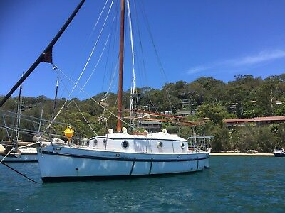 Classic family wooden sailing yacht